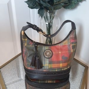 DOONEY AND BOURKE PLAID CANVAS LEATHER BUCKET BAG